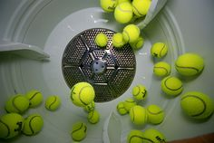 Use tennis balls in the dryer to....reshape and dry pillows after washing and in with regular laundry for faster drying. I normally use two tennis balls. I also dilute down fabric softener in a water bottle and spray it on the tennis balls instead of using dryer sheets. It cut down my drying time by like 20-30 mins. My dryer is about 5 years old and its the old style.