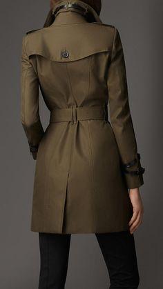 {Burberry} Gabardine Mid-length Trench Coat in Dark Khakhi Green