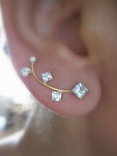 Ear Sweep Wrap - Cuff Earring with Swarovsky Gold Filled - Square | blucky - Jewelry on ArtFire