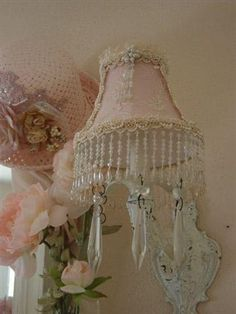 Delicate pink and crystals wall sconce Lady-Gray-Dreams
