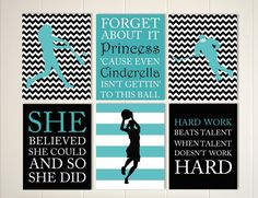 Inspirational quote art, girls quotes wall art, softball girl, ice hockey wall art, basketball player, sports art for girls, set of 6 by PicabooArtStudio