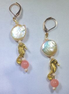 Freshwater Coin Pearl Seahorse Earrings Leverbacks Island Breeze Collection Vacation Cruise Holiday Resort by PureFunDesigns on Etsy