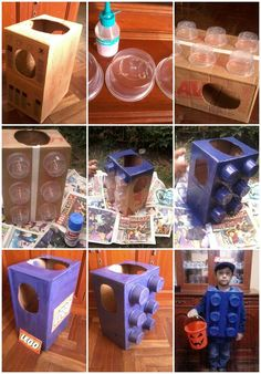Costume Lego Brick: One cardboard box Six plastic containers Box cutters Spray paint Hot glue gun and glue Duct or packing tape Pencil Ruler and...ready for the big night!: