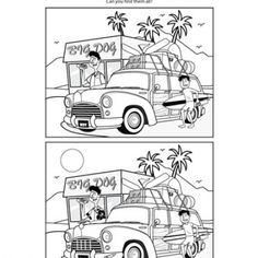 Travel Game: Find the Difference. Gonna print for trip , first bring markers to color and then find the difference, will make the game last longer!! rcl