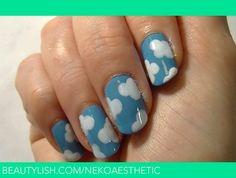 Cute Fluffy Cloud Nail Art | Jess B.'s (NekoAesthetic) Photo | Beautylish
