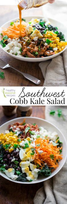 Southwest Cobb Kale Salad. Along with the traditional bacon and hard-boiled eggs, these salads also have black bean, corn and Mexican cheese. @healthyseasonal