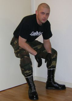 """punkerskinhead: """"skinhead in camouflage pants """" Leather Gloves, Leather Men, Skinhead Boots, Skin Head, Camouflage Pants, Army Men, Military, Black Laces, Tall Boots"""
