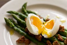 A tasty little salad with spicy chorizo sausage, steamed asparagus and the perfect soft-boiled egg.