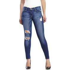 FLYING MONKEY Ripped Front Skinny Jeans ($60) ❤ liked on Polyvore featuring jeans, blues, skinny fit jeans, denim skinny jeans, blue skinny jeans, super skinny jeans and destroyed jeans