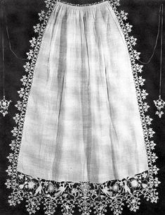 "This is lacework, not crochet.  ""Apron. White linen, border of punto in aria. Ties of fine cord with ends of punto in aria. Italy, late 16th or early 17th century.""    Lace and Lace Making, Marian Powys, Dover Publications, 2002"