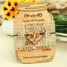 Mason Jar wedding invitation, wood invitation, wood wedding invitation, unique wedding invitation, rustic wedding invitation, jar invitation