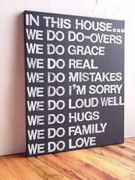 In This House We Do Grace, Graphite Gray and White, Family Rules Sign, Living Room Decor, Typography word art, Gift. via Etsy.