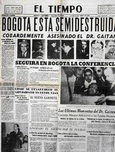 Bogotazo - escalada de violência iniciada com o assassinato do candidato à Presidência do líder liberal e candidato a presidente Jorge Eliécer Gaitán em 9 de abril de 1948 no centro de Bogotá, (Colômbia), durante o governo do Presidente Mariano Ospina Pérez,