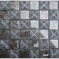"Glass Mosaic Resin Flower Tile Walls 1-7/8"" Black Brick Tiles Clear Glass Random Patterns"