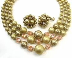 VINTAGE 1950's COSTUME JEWELRY 3 Strand Graduated Gold Bead, Faceted Pink