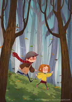 Jez Tuya Illustration: Walkin' in the Woods