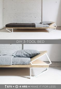 "This DIY Modern Bed is made from a sheet of ¾"" plywood, and 10 ikea shelf…"