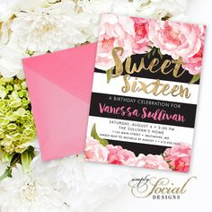 Floral Sweet Sixteen Invitation - Floral Peony Blush Faux Gold Foil Black Stripes Boho Flowers Pink Botanical 16th Birthday Printable