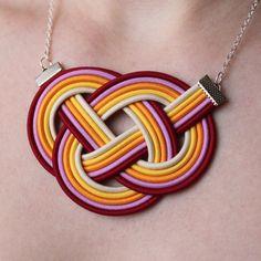 Handgefertigte Halsketten Knoten - 5 verschiedene - elegant und sportlich, Seil verknotet, Schmuck, Neon Farbe, Oragne, lila