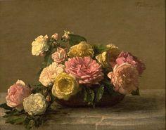 Henri Fantin Latour, Roses dans une coupe, Huile sur toile, Paris, Musée d'Orsay