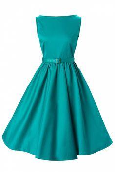 950's Audrey Hepburn style swing evening Teal vintage dress.