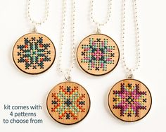 Bamboo Pendant with Metal Frame Kit #bamboo #beginner #chevron #cross-stitch #cross-stitch-kit #kit #modern #necklace #pendant #red-gate-stitchery #straight-stitch