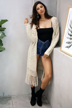 8cd8cf015a919e Carmen Long Tassel Cardigan Cardigan Sweaters For Women