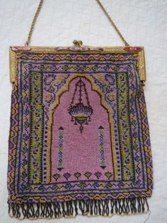 Antique Purse in Prayer Rug Design w Hanging Lantern Gold Jeweled Frame | eBay