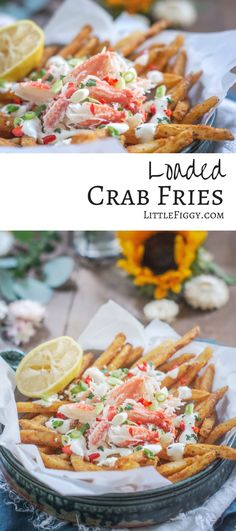 Loaded Crab Fries Enjoy Snow Crab Legs in this moreish loaded crab fries recipe! A pile of crispy fries, topped off with stunning steamed crab and sauced up with garlic aioli. Get the recipe at Little Figgy Food. Crab Recipes, Appetizer Recipes, Healthy Seafood Recipes, Appetizers, Shellfish Recipes, Recipes Dinner, Snow Crab Legs, Crab Fries, Crispy French Fries