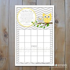 Owl Baby Shower Bingo Game Card /Yellow and by FancyShmancyNotes, $5.00