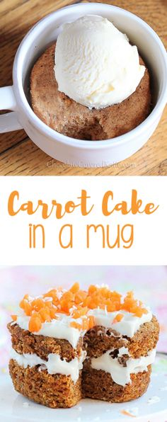As seen on Buzzfeed - a single serving carrot cake mug cake / can be made in the microwave, & less than 150 calories. Full recipe: http://chocolatecoveredkatie.com/2012/04/03/five-minute-carrot-cake-for-one/ @choccoveredkt