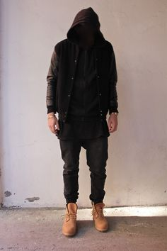 fashion, leather, hoodie, black