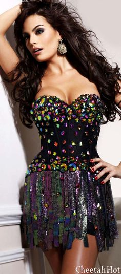 Other than a Hooker/porn convention where else would wear this? SHERRI HILL - Authentic Designer Gorgeous Dress - Front View