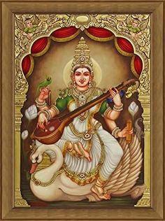Tanjore Painting - Ganjan Saraswathi (A Contemporary Rendition of Lord Saraswathi) Mysore Painting, Kerala Mural Painting, Tanjore Painting, Krishna Painting, Krishna Art, Indian Traditional Paintings, Indian Art Paintings, Oil Paintings, Saraswati Goddess