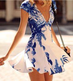Sexy V-Neck Sleeveless Print Dress