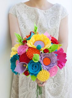Felt Bouquet  Wedding Bouquet  Alternative by SugarSnapBoutique