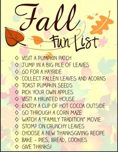 A must do list this fall! Free Fall Activity Checklist for adults and kids.:Autumn Bucket List Printable - Spool and Spoon:.
