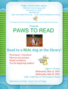 PAWS to Read - May 2016: Palm Coast Library   Flagler County Family Fun