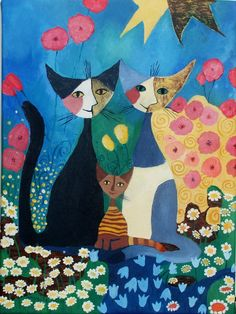 Rosina Wachtmeister's cats painting reproduction by PrittieDolls