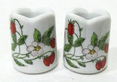 vintage strawberry candle stick holders | Details about Great Vintage Strawberry Porcelain Candle Holders Funny ...