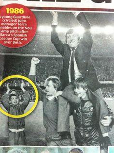 young ball boy #Guardiola celebrating for Barça