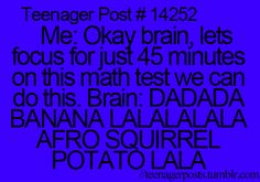 Lol yes or I just remember things that I was supposed to do a long time ago. Or just remember things that I need to tell people Teenager Quotes, Teen Quotes, Teenager Posts, Funny Relatable Memes, Funny Quotes, Life Quotes, Relatable Posts, Afro, Funny Teen Posts