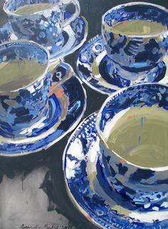 Blue and White Tea Cups / Stellers Gallery