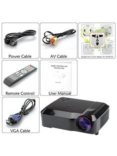 3800 Lumens LED Projector (Black) Ipod, Phone, Led Projector, Projectors, Electronics, Black, Telephone, Black People, Ipods