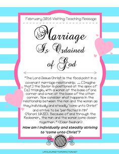 Life's Journey To Perfection: Visiting Teaching Ideas for February 2016: Marriage Is Ordained of God