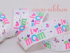 10Y 7/8 White I Love Mom Mother's day Flower by cocoribbon on Etsy, $9.99
