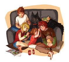 Hiccstrid with Toothless and Jack Frost and his sister. I don't at all ship Hiccstrid but I really like this fan art.