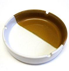 70s Modern Stoneware Ashtray Honey Brown Split by sweetie2sweetie, $7.99