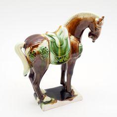 Ceramic Horse Figurine, Equestrian Folk Art, Green and Brown Glaze, Vintage 1930-40 Handmade, Rustic Model Horse Statue, Home Decor by GBCsLegacies on Etsy