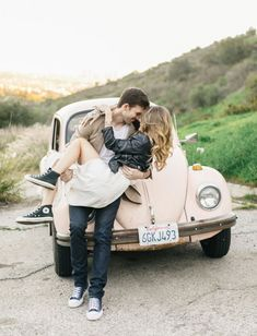 Hollywood Engagement Session with a Vintage Bug: Brittany + Marty - Green Wedding Shoes Wedding Photography Styles, Couple Photography, Engagement Photography, Photography Jobs, Wedding Fotos, Wedding Photoshoot, Wedding Shoot, Wedding Dresses, Engagement Couple